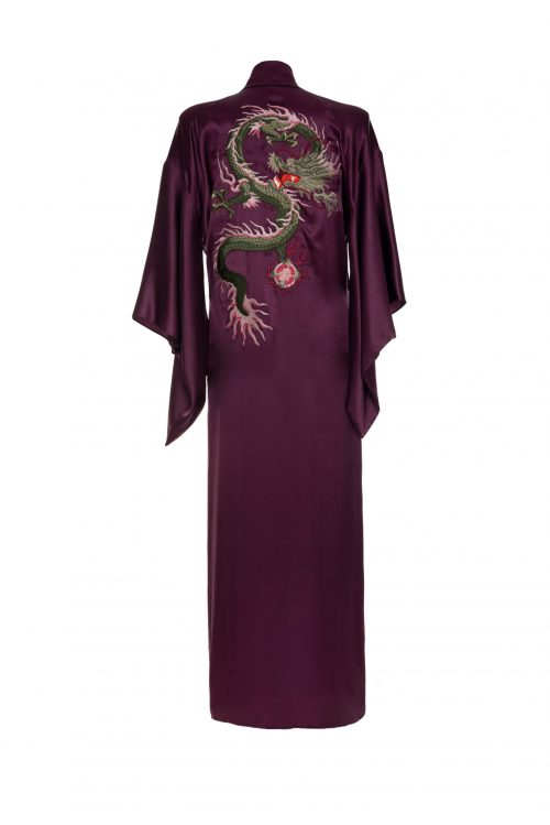 Long Kimono with embroidery - Flamingo